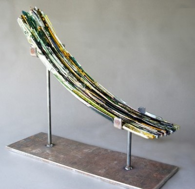 Transpire Muted, 2009. Textured, fused, and slumped glass; steel. H 18, W 10 D 6 in.