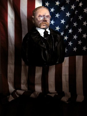 John Moran's mixed media bust of Teddy Roosevelt is one in a series of all the U.S. presidents he is currently making during his Wheaton residency.