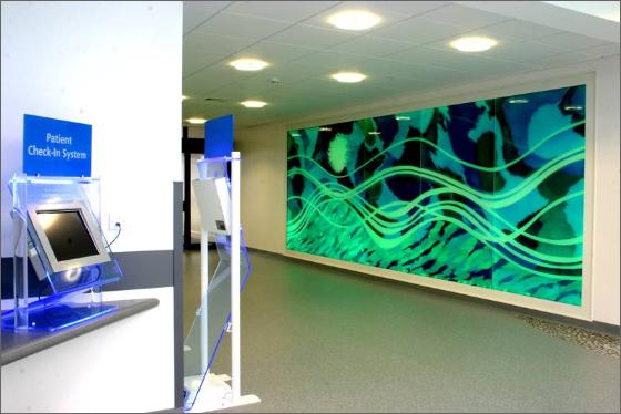 Design glass art panels help soothe pediatric patients at for Glass panel design