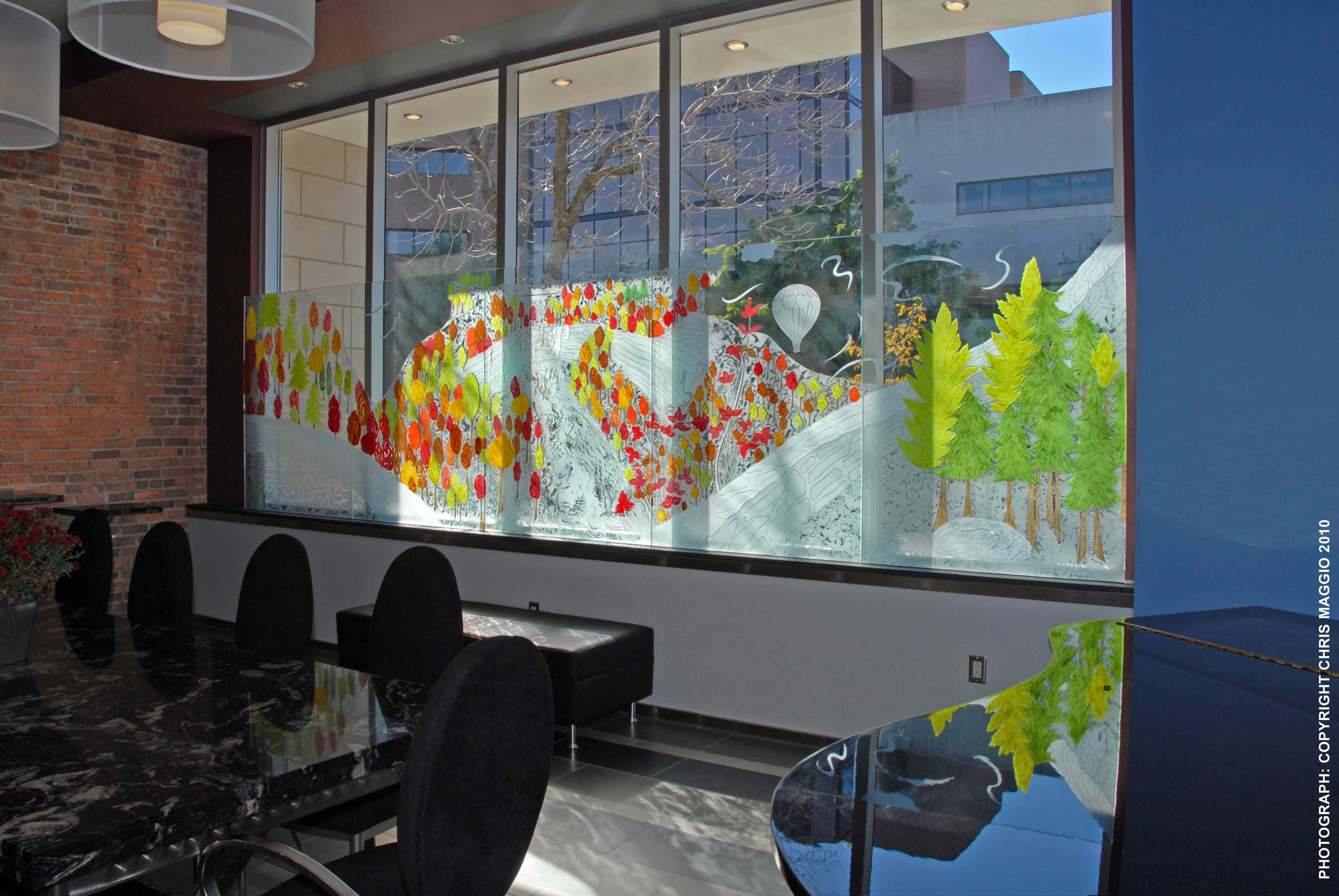 Painting On Glass Windows : Design glass painting as privacy screen for private