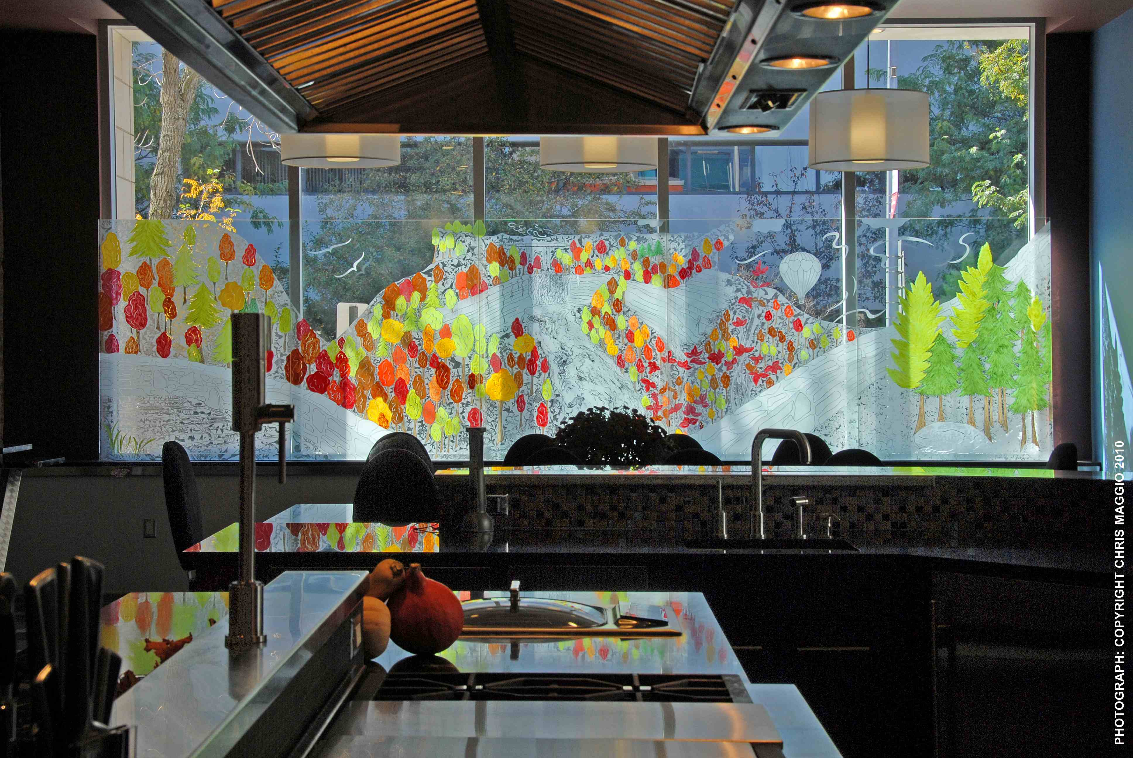 DESIGN: Glass Painting As Privacy Screen For Private Residence In  Rochester, New York