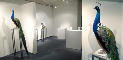 An installation view of Joanna Manousis's exhibition at gallery Exhibit A in Corning, New York.