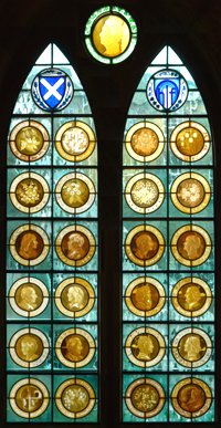 The donor window at the Scottish National Portrait Gallery in Edinburgh includes engraved portraits by Alison Kinnaird.