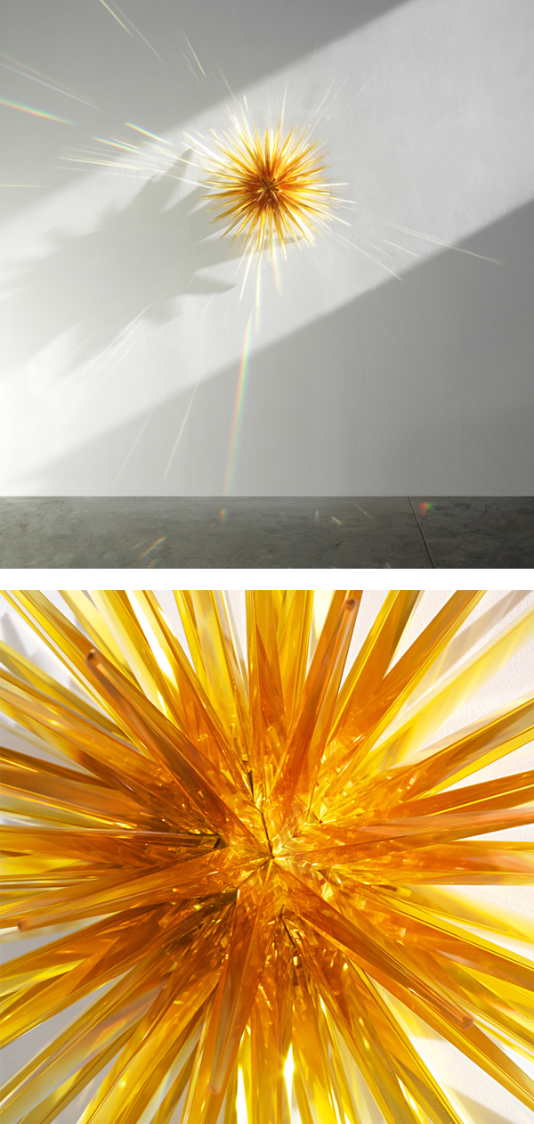 Norman Mooney, Amber Star, 2012. Glass and aluminum. H 32, W 32, D 18 1/2 in. photo courtesy: heller gallery.