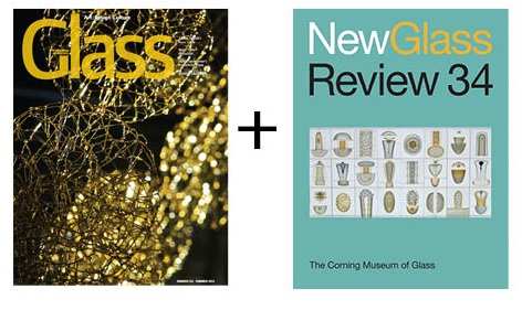 The cover of the Summer 2013 edition of GLASS (#131), which comes bundled with a special bonus copy of Corning's New Glass Review (#34).