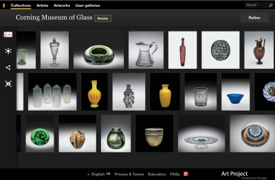 A screenshot of the Corning Museum of Glass's page for the Google Art Project. courtesy: corning museum of glass