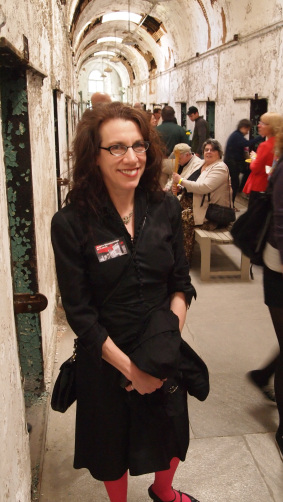 Judith Schaechter photographed at the opening of her 2012 Eastern State Penitentiary in Philadelphia. photo: glass quarterly