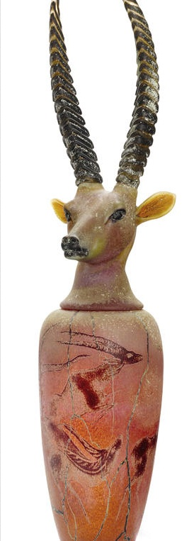 William Morris, Canopic Jar: Sable Antelope, 1995. Hand blown glass. H 48, W 12  in. courtesy: www.bonhams.com.