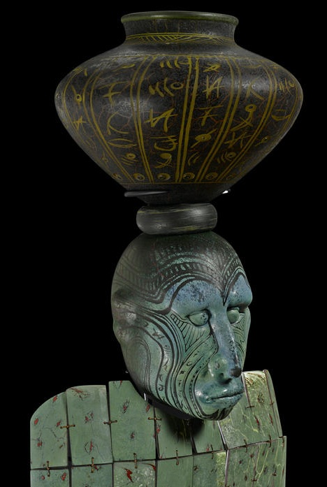 William Morris, Zhejiang Man, 2001. Blown and applied glass, copper wire, metal stand. H 77, W 16, D 13 in. courtesy: www.bonhams.com.
