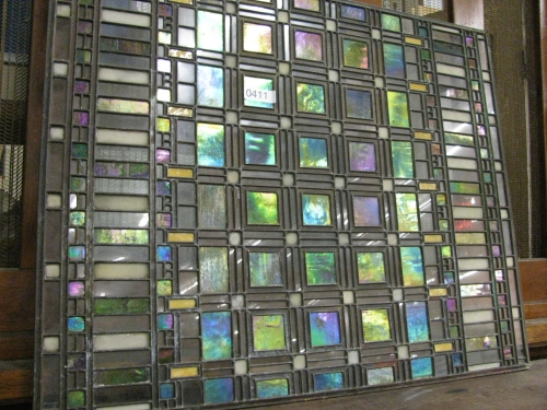One of the original glass skylight windows of Frank Lloyd Wright's Martin House is being auctioned on August 3rd after being stored away by a private owner for nearly half of a century. courtesy: schultz auctioneers.